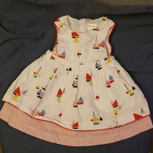 Infant Pleated Dress with Sail Boats